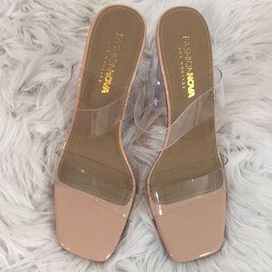 """Fashion Nova""""Yeah I Said It Heeled Sandals Nude"""""""